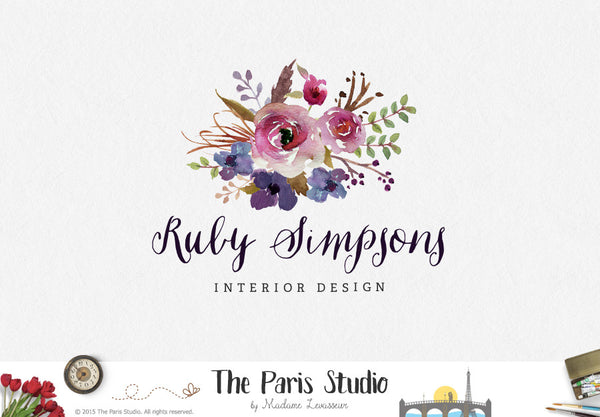 Watercolor Floral Bouquet Logo Design