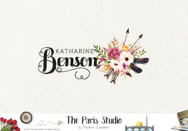 Arrow Logo Rustic Floral Bouquet Logo Design