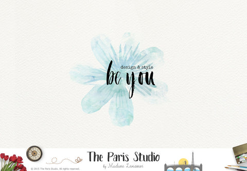 Watercolor Flower Logo: DIY Instant Logo Design