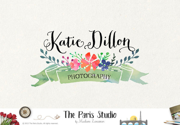 Watercolor Banner Logo Design