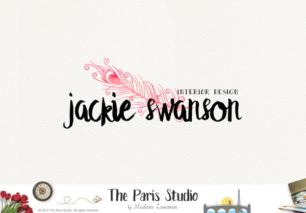 Watercolor Feather Logo Design