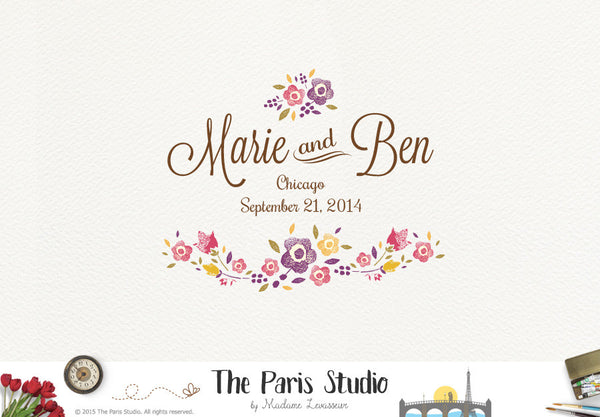 Watercolor Floral Wedding Logo Design