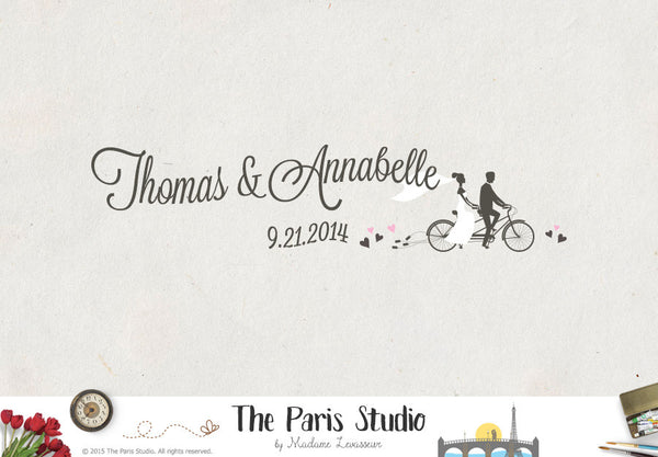 Wedding Crest: Couple on Bike Wedding Logo Design