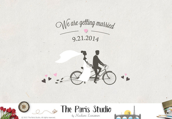 Couple on Bike Wedding Logo Design