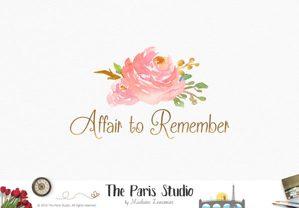 Gold Foil Watercolor Floral Logo Design