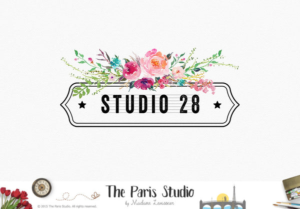 Watercolor Floral Vintage Frame Logo Design