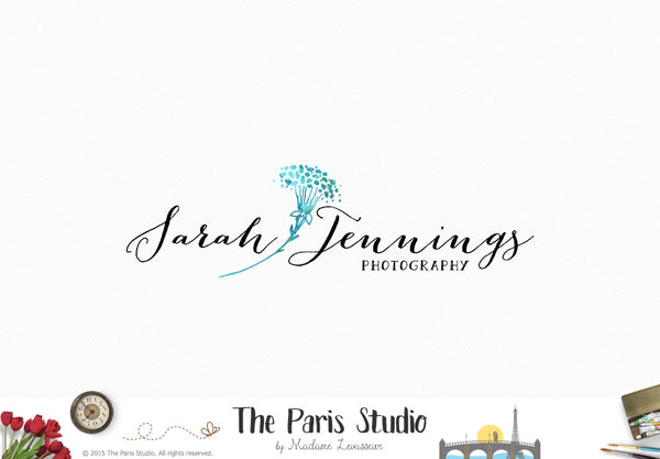 Watercolor Floral Logo Design - Photography Branding