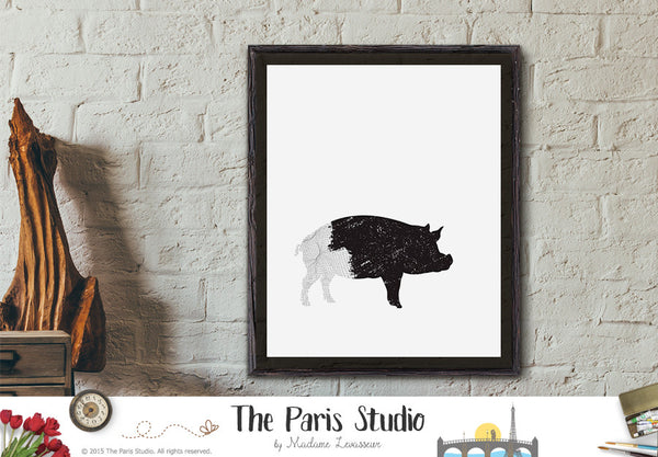 Instant Download Digital Art: Pig