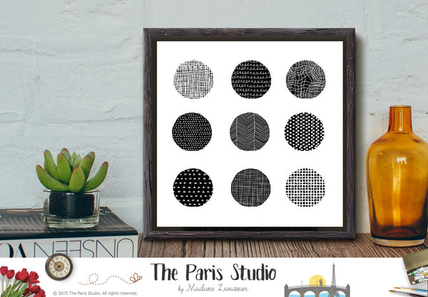 Instant Download Minimalist Digital Art 9 Circles 2