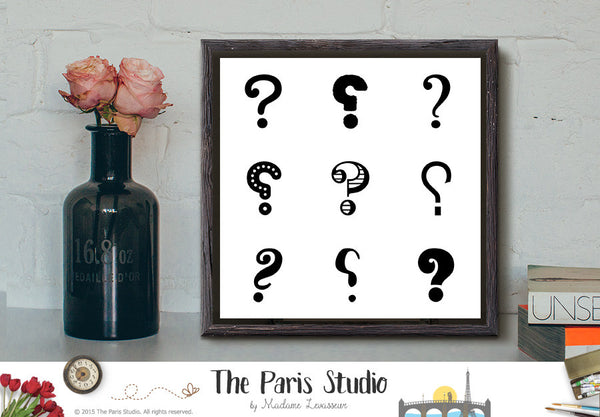 Instant Download Minimalist Typographic Art: 9 Question Marks