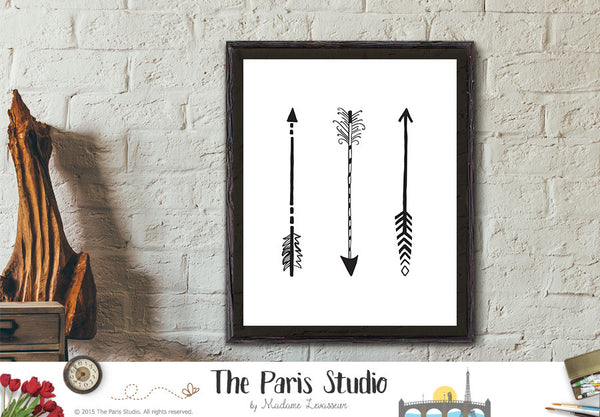 Printable Instant Download Digital Art 3 Tribal Arrows