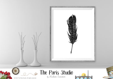 Black and White Watercolor Feather Digital Art Print