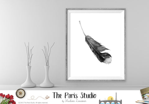 Instant Download Black and White Watercolor Feather Art Print