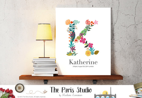 Custom Floral Monogram Design - Floral Alphabet