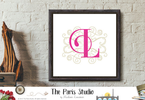 Printable Calligraphic Monogram Letter L Instant Download