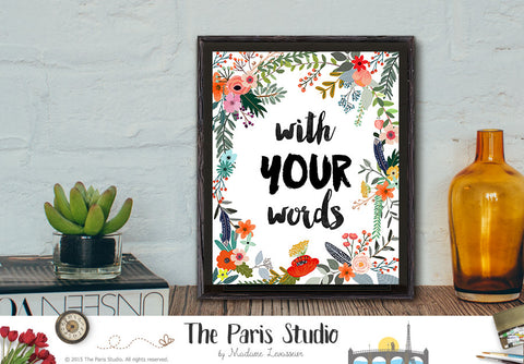 Custom Design Digital Art Print - Custom Floral Quote Design