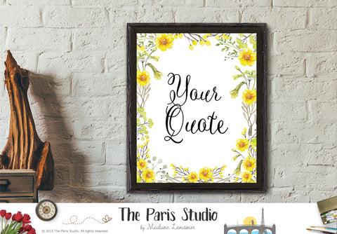Custom Design Watercolor Floral Art Print - Custom Quote Design