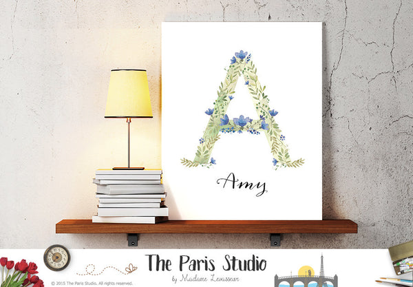 Custom Watercolor Floral Monogram Design