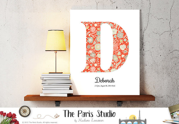 Custom Floral Patterned Monogram Design