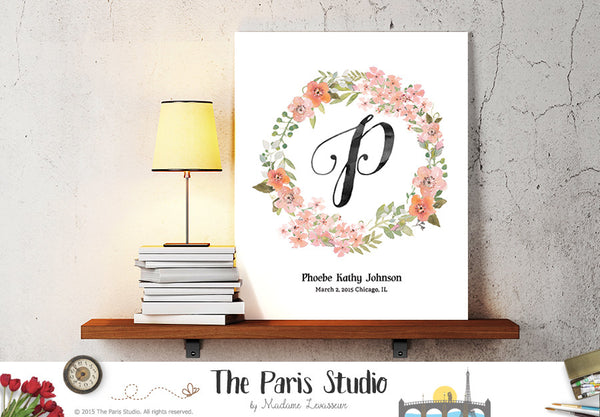 Custom Watercolor Floral Wreath Monogram Design