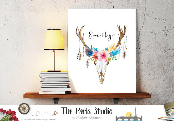 Custom Printable Floral Antler Monogram Design