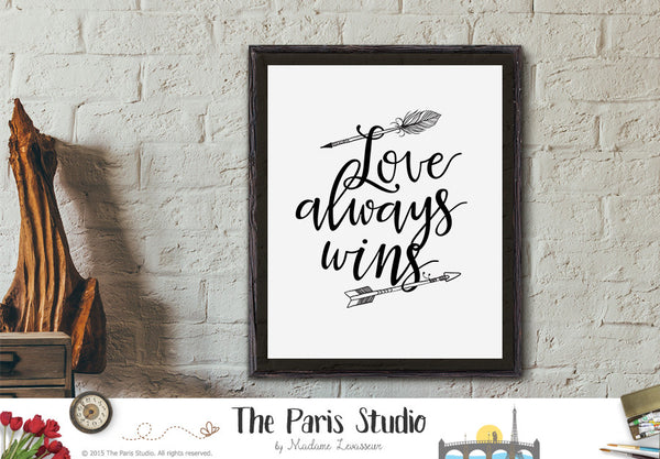 Instant Download Printable Quote Love Always Wins