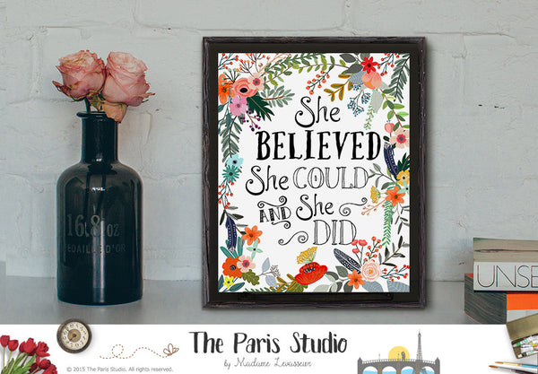 Instant Download Printable Quote She Believed She Could
