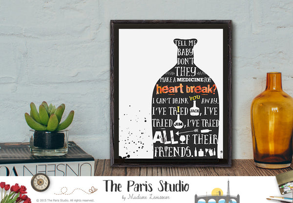 Printable Lyric Wall Art Drink You Away by Justin Timberlake