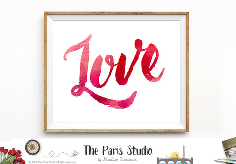 Printable Art Watercolor Digital Art Print: Love
