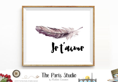 Printable Art Watercolor Feather Digital Art Print: Je t'aime