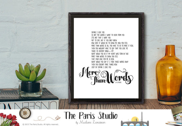 More Than Words by Extreme Instant Download Printable Lyric Art