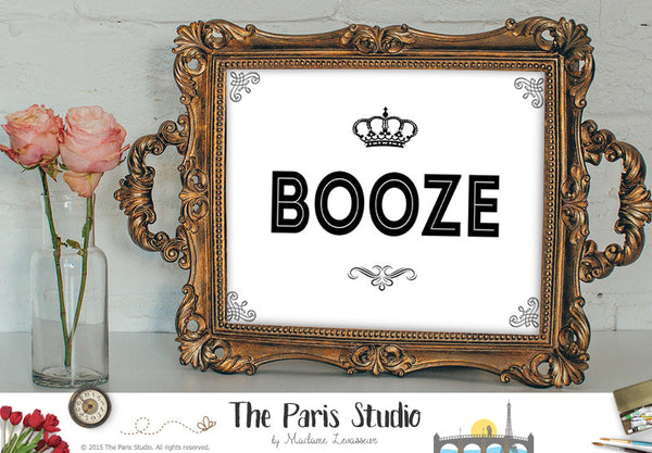 BOOZE sign printable business signage instant download