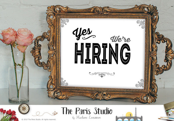 Yes we're hiring sign printable business signage instant download