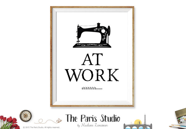At Work sign printable business signage instant download - Sewing