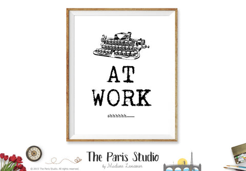 At Work sign printable business signage instant download - Typewriter