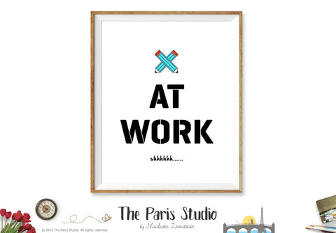 Writers At Work sign printable business signage instant download - Pencils