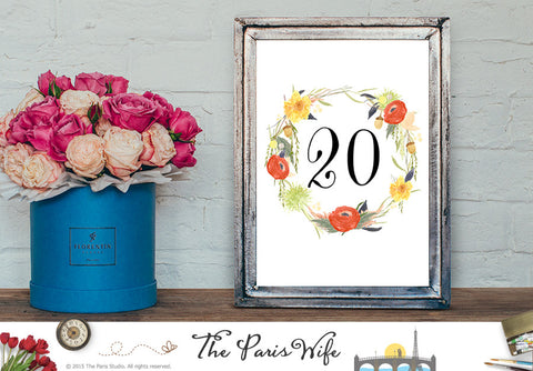 Wedding Table Number 1-20 Instant Download - Watercolor Floral Wreath