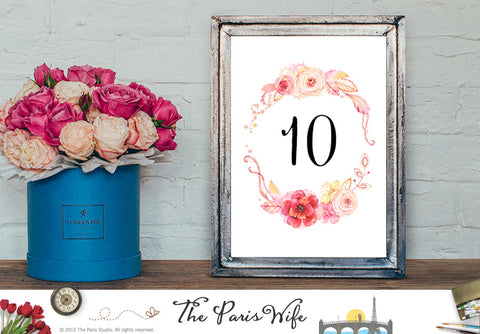Instant Download Wedding Table Number 1-10 - Watercolor Floral Wreath