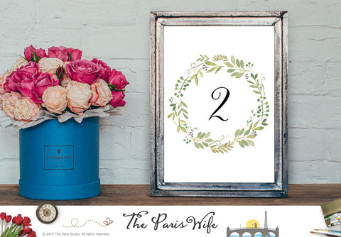 Watercolor Floral Wreath Instant Download Wedding Table Number 1-20
