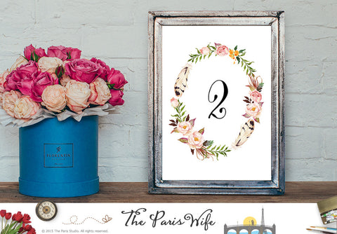 Floral Wreath Instant Download Wedding Table Number 1-20