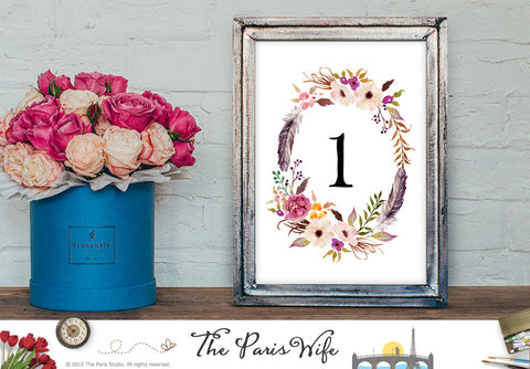 Instant Download Wedding Table Number 1-20 Floral Wreath Design