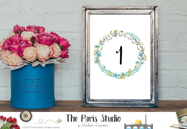 Wedding Table Number 1-20 Instant Download - Watercolor Blue Floral Wreath