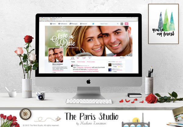 Facebook Wedding Announcement, Social Media Cover Design, E-bay and Etsy Shop Cover Design
