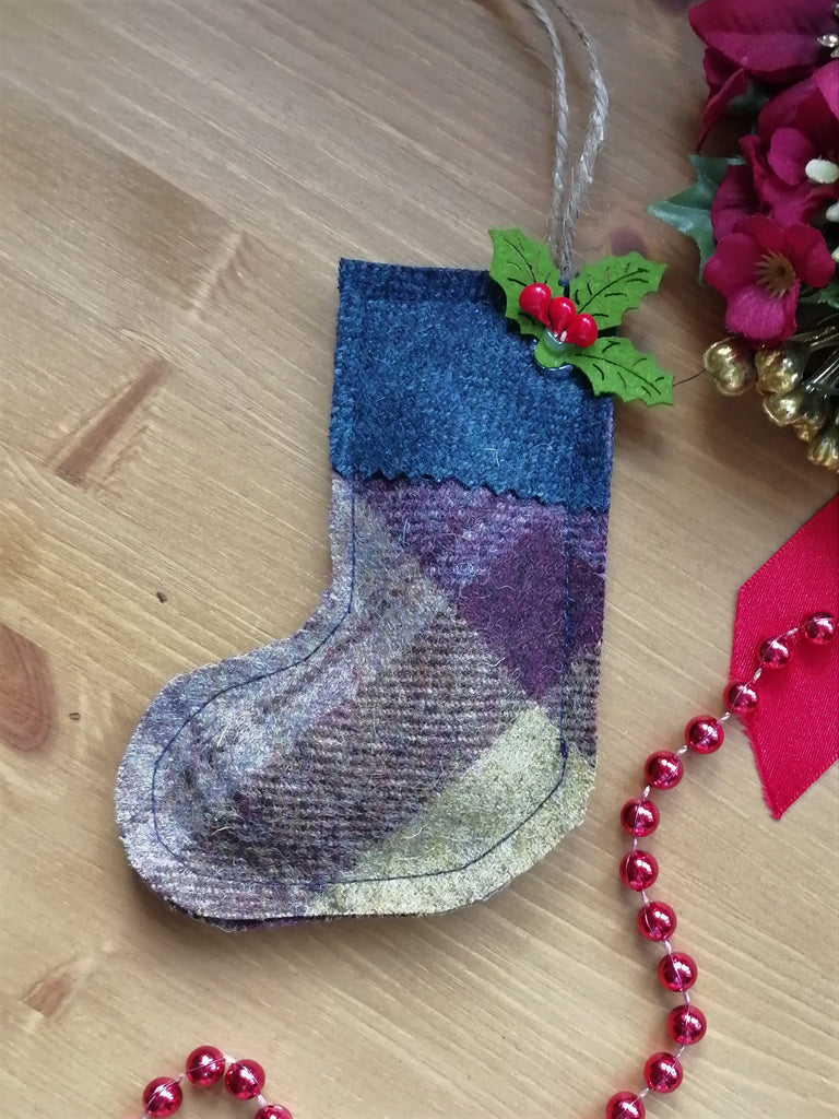 Tweed Christmas Stocking- Blackberry Crumble