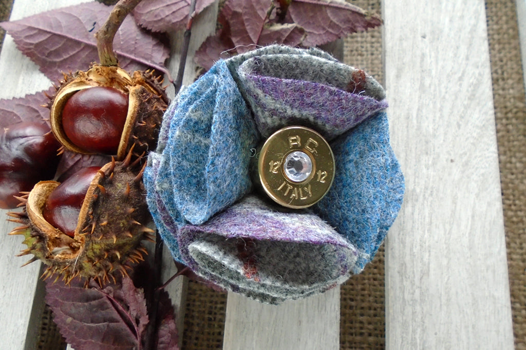 Sporting Tweed Brooch - Blue Stripe