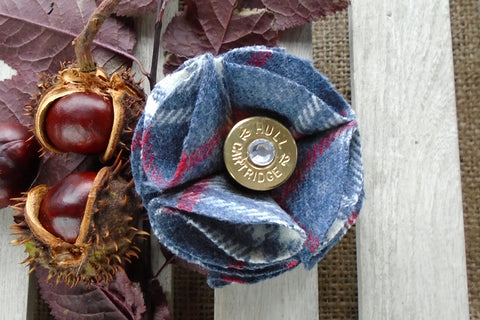 Sporting Tweed Brooch - Blue Check