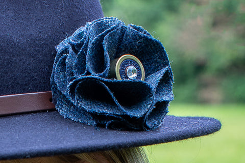 Sporting Tweed Brooch - Blue Herringbone