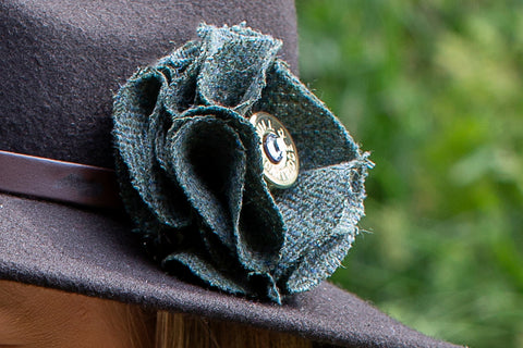Sporting Tweed Brooch - Green Herringbone