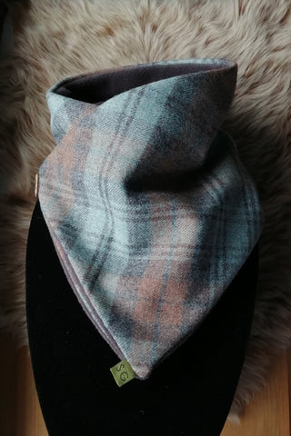 Classic Tweed Snood - Duck Egg Blue Check