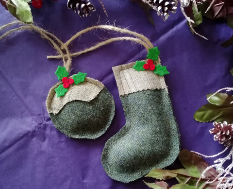 Tweed Christmas Decoration-  Green Herringbone